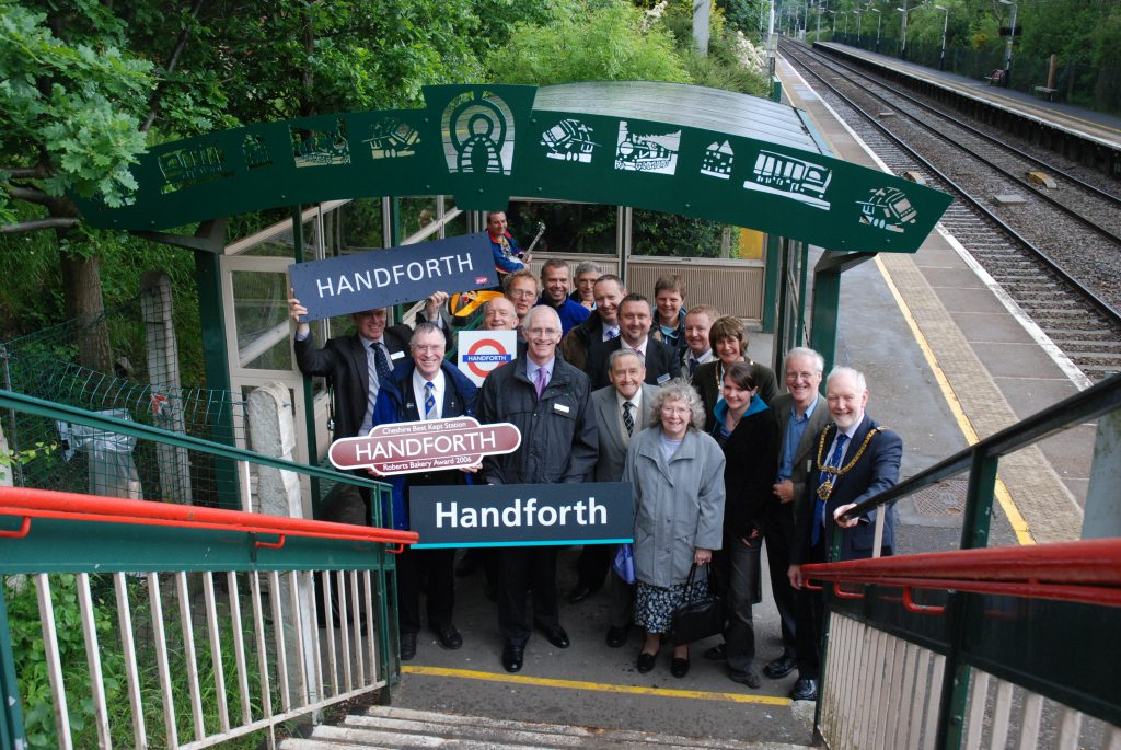 Handforth Station Friends at a running in board handover event May 2007