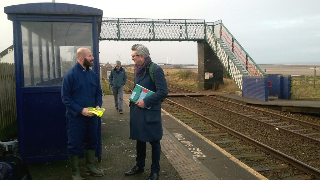 ACoRPs Ian Davis speaking to Turning Point manager Warren Birch, at Flimby Station.
