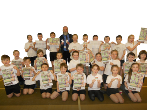 2016 Involving Young People winner, Brian Haworth of Community Rail Lancashire with the pupils of Padiham Green School
