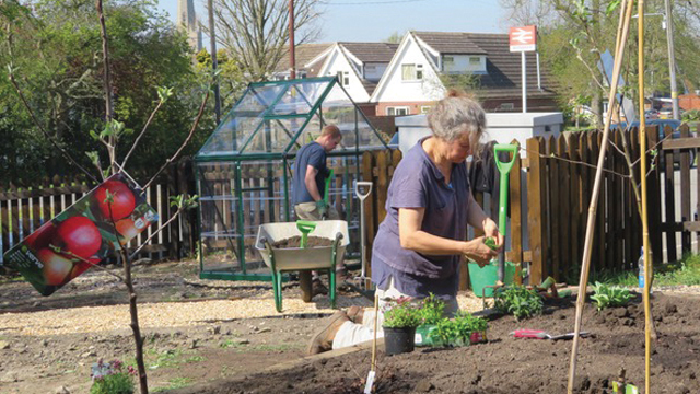 Planting taking place at Bottesford Friendly Garden