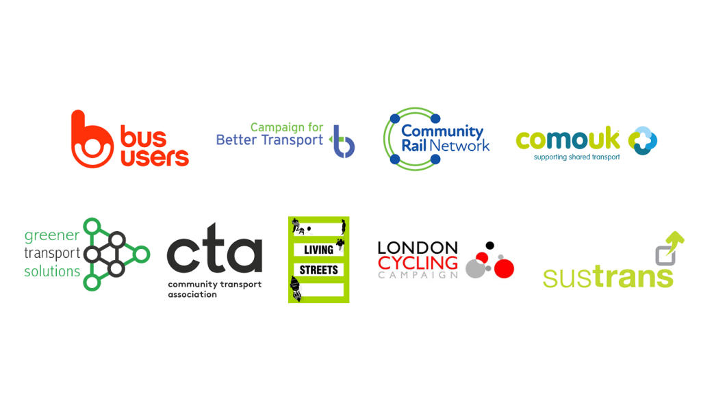 Sustainable Transport Association logos. The Sustainable Transport Alliance is a partnership of nine public transport, cycling, walking, and shared mobility groups. The Alliance is made up of Community Rail Network; Campaign for Better Transport; Bus Users UK; Community Transport Association; Living Streets; Sustrans; London Cycling Campaign; and Collaborative Mobility UK (CoMoUK).